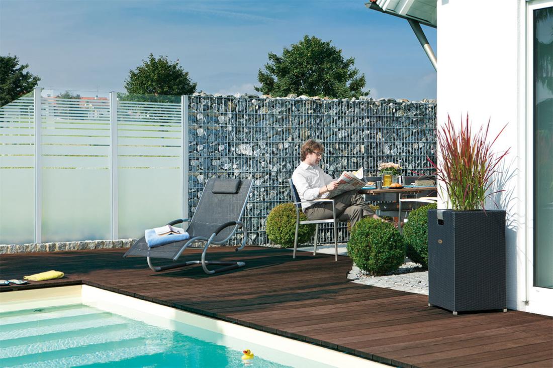 gabionenwand hochwertige gabionen in 10 15 und 23 cm von triooo. Black Bedroom Furniture Sets. Home Design Ideas