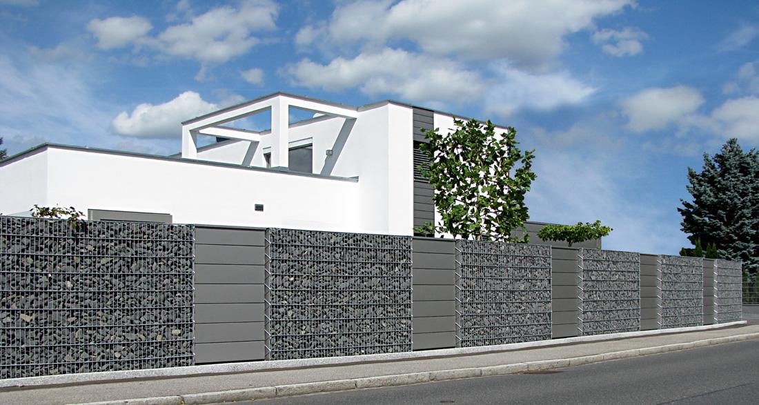 gabionenwand hochwertige gabionen in 10 15 und 23 cm von. Black Bedroom Furniture Sets. Home Design Ideas